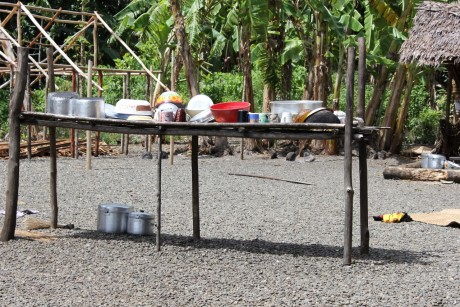 Cooking utensils for the jungle village spotlessly clean.