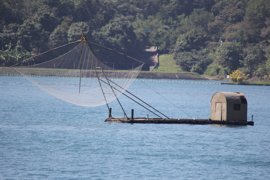 Fishing Barge with drop nets
