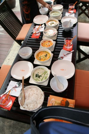The food we cooked laid out on the table