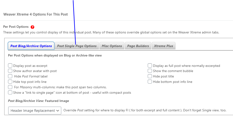 Specific Page Options